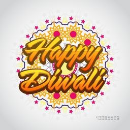 Stylish Text Happy Diwali on floral design decorated background, Elegant Poster, Banner or Flyer for Indian Festival of Lights celebration.
