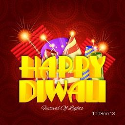 Glossy 3D Text Happy Diwali with burning firecrackers, Indian Festival of Lights celebration background, Elegant Greeting Card design, Hindu Community Festival concept.