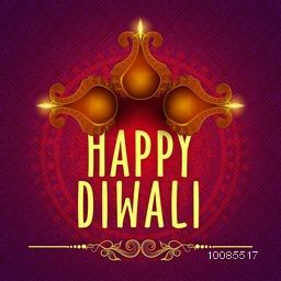 Elegant Greeting Card design decorated with illuminated oil lamps (Diya) on floral background for Indian Festival of Lights, Happy Diwali celebration.