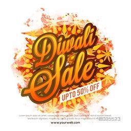 Diwali Sale with upto 50% Off, Can be used as poster, banner or flyer design for Indian Festival concept.