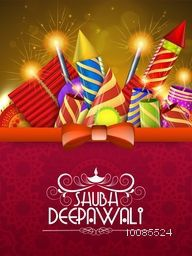 Elegant Greeting Card design with colorful firecrackers for Indian Festival, Happy Diwali celebration.