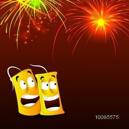 Happy Diwali celebration festive background with funny firecracker and firework explosion, Vector illustration for Indian Festival of Lights celebration.