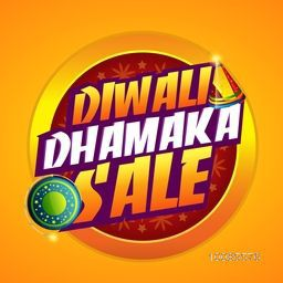 Diwali Dhamaka Sale Poster, Banner or Flyer design for Indian Festival of Lights celebration concept.