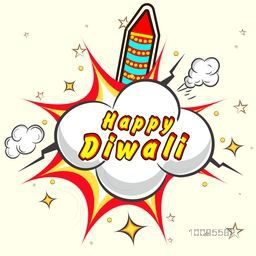 Vector Rocket with pop art explosion, Creative illustration for Indian Festival of Lights, Happy Diwali Celebration.