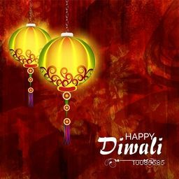 Glossy elegant, Diwali Lamps hanging on grunge paint stroke pattern, Vector illustration for Indian Festival of Lights Celebration.