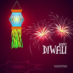 Hanging Diwali Lamp (Kandil) - Hindu Community Festival of Lights Background, Vector sparkling fireworks illustration. Creative greeting card design.