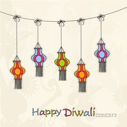 Image of colourful hanging lamps on floral decorated background.