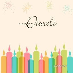 Illustration of colorful illuminated candles with crackers and Diwali wishing text.