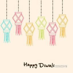 Illustration of hanging lamps with pearl decorated rope and stylish text.