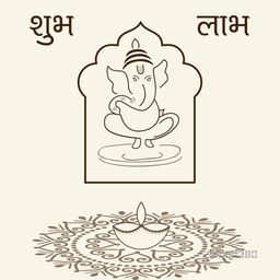 Illustration of  of lord Ganesha in frame with rangoli, lampion and text Subh Lambh.