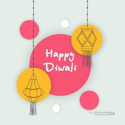 Illustration of hanging lamps and stylish Diwali text in center.
