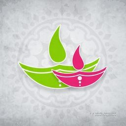 Illustration of two lampion in green and pink colour on floral decorated background.