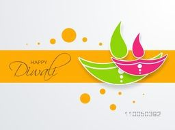 Illustration of clourful litlamps with stylish Dipawali text on orange background.
