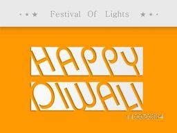 Stylish Happy Diwali text on white part with text Festival of Light as header.