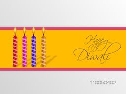 Illustration of colourful illuminated candles with stylish Happy Diwali text in orange label.