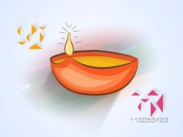 Illustration of a illuminated lampion with colorful paper design on shaded background.