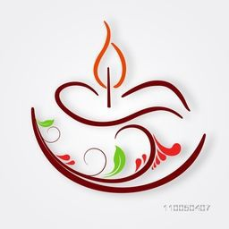 Illustration of a designer lampion with many colours on white simple background.