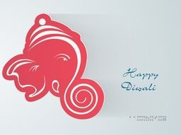 Illustration of Lord Ganesha face in pink colour with stylish text.