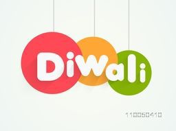 Hanging text of  Diwali with colorful rounded frames for posters.