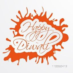 Illustration of beautiful text to wishing Diwali in orange frame.