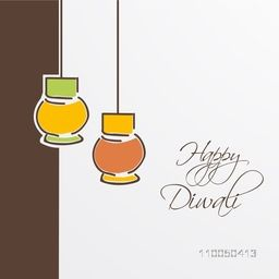 Illustration of two hanging lamps in kiddish way with stylish text.