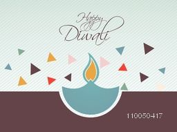 Illustration of a blue illuminated lampion  with colourful paper design on linen background with stylish text.