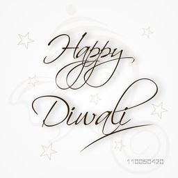 Beautiful text of Happy Diwali with shadowed illustration of Lord Ganesha face and stars.