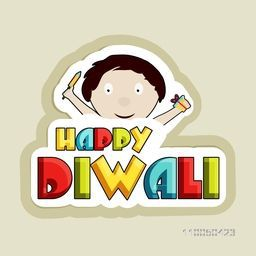 Illustration of a cute boy face holding crackers with colourful HAPPY DIWALI text.