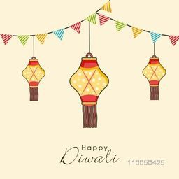 Illustration of three dotted hanging lamps with decoration of small linen flags and stylish text.