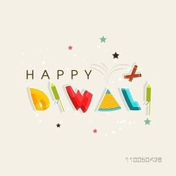 Kiddish text of Happy Diwali with crackers and stars on dotted background.