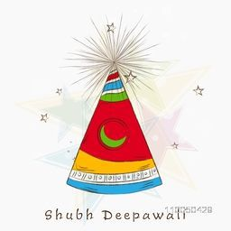Illustration of a colourful exploded cracker with Diwali wishing text in hindi on star shadowed background.
