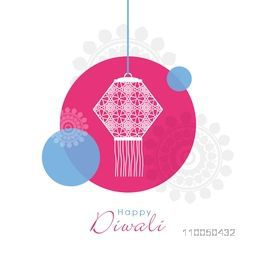 Illustration of a hanging lamp in circle on floral decorated background.