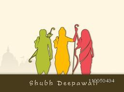 Colourful silhouette of Lord Ram, Laxman holding their bow and Goddess Sita giving blessing and a temple shadow beside.