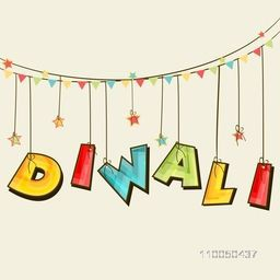 Illustration of colourful  hanging text of Diwali and stars binding with rope and line of small flags.