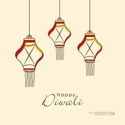 Sketch of hanging lamps with stylish text on simple background.