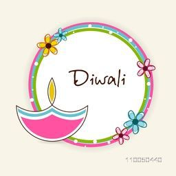 Illustration of a rounded frame with a colourful lampion, flower and text.