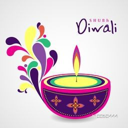 Illustration of colourful illuminated oil lit lamp with beautiful decoration on grey background.