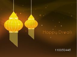 Illustration of happy Diwali celebration with beautiful hanging on yellow and black background.