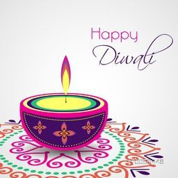 Poster of colourful illuminated oil lit lamp on colourful rangoli on grey background.
