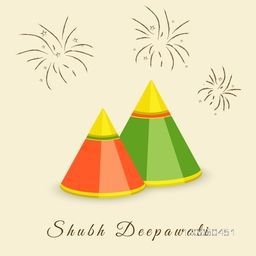 Illustration of colourful crackers with blur stars and shining on light yellow background.