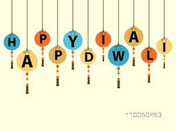 Illustration of stylish hanging design in text of happy diwali on white background.