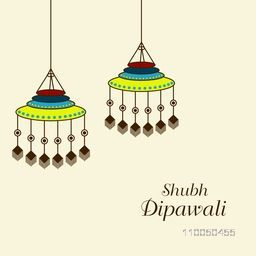 Illustration of beautiful decorated hanging on light background.