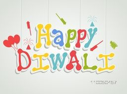 Illustration of colourful hanging text of diwali with white under lines, crackers and baloons on light grey and white background.