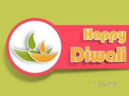 Illustration of illuminated oil lit lamp in a circle and stylish text of happy diwali on green background.