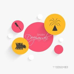 Illustration of text of shubh deepawali and crackers in a circle and four circle there corner on white background.