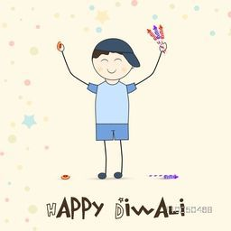 Illustration of little cute boy playing crackers with happiness and stylish text of happy diwali on stars decorated background.