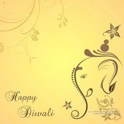 Illustration of Lord Ganesha face for blessing on floral decorated background.