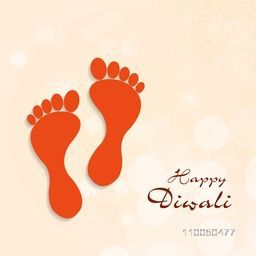 Illustration of Goddess Laxmi's foot print on floral decorated background.