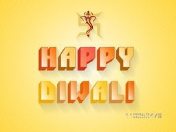 Poster of stylish text and Lord Ganesha face on swastika on orange and yellow shaded background.