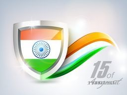 Indian Independence Day background with national flag in metal shield on shiny abstract grey background.